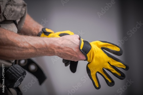 Fotografia, Obraz  Wearing Safety Gloves