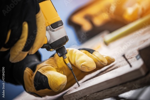 Plakat Wood and Drill Driver Work