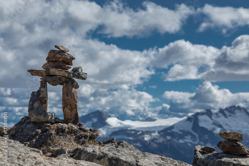 Rock Inukshuk in the mountains.