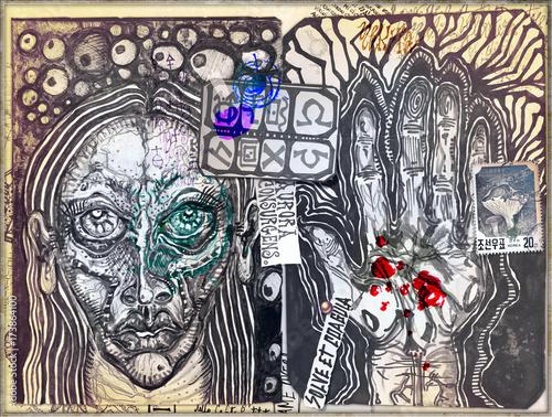 Tuinposter Imagination Graffiti,manoscritti misteriosi e disegni,alchemici,esoterici e astrologici
