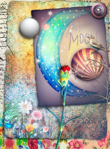Poster Imagination Sfondo con luna fiabesca,stelle,fiori e garofano rosso