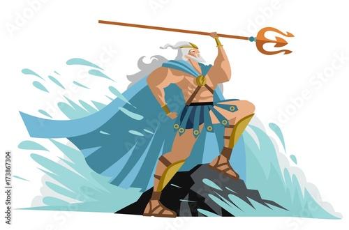 neptune poseidon god of the sea in a wave Wallpaper Mural