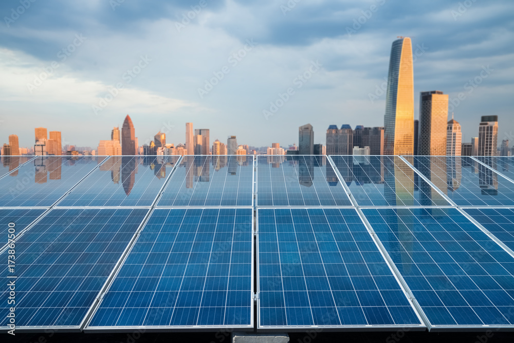 Fototapety, obrazy: solar energy panel with city twilight