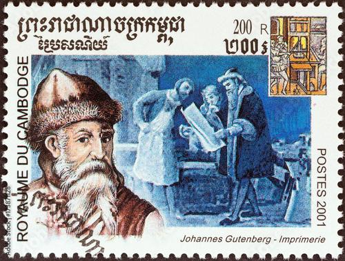 Johannes Gutenberg, printers (Cambodia 2001) Poster