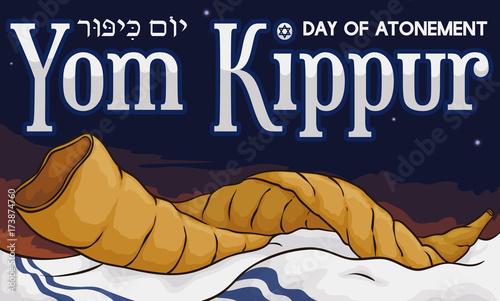 Shofar Horn over Tallit in a Dawn of Yom Kippur, Vector Illustration Canvas Print