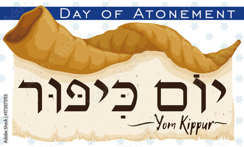 Photo Shofar Horn over Scroll Announcing Jewish Yom Kippur, Vector Illustration