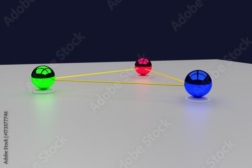Fotografía  3D-Rendering von drei glänzenden Kugeln, die verbunden sind und kommunizieren