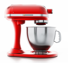 Red Vintage Mixer Isolated On White Background. 3D Illustration