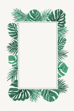 Rectangular Border Frame Template Decorated With Exotic Tropical Jungle Rainforest Bright Green Palm Tree And Monstera Leaveswhite. Vertical Portrait Aspect Ratio. Place For Text. White Background.