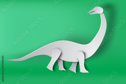 Photo  paper art of Apatosaurus dinosour on green background vector