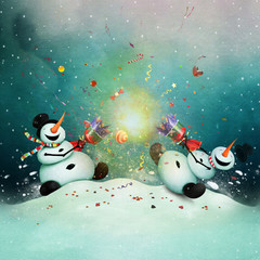 Winter holiday greeting card with two cheerful snowman with  Christmas cracker.