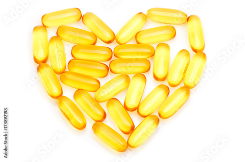 Valokuva  Cod liver oil Omega 3 gel capsules in the form of heart isolated on white