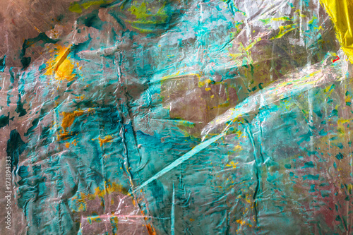 Photo sur Toile Les Textures Abstract green background with a plastic texture