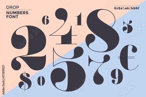 Fotomural  Font of numbers in classical french didot or didone style with contemporary geometric design