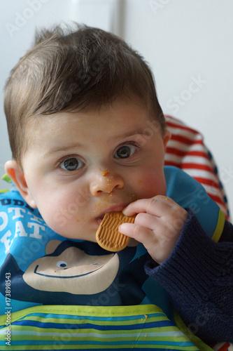 Fotografie, Obraz  Neonato che mangia un biscotto