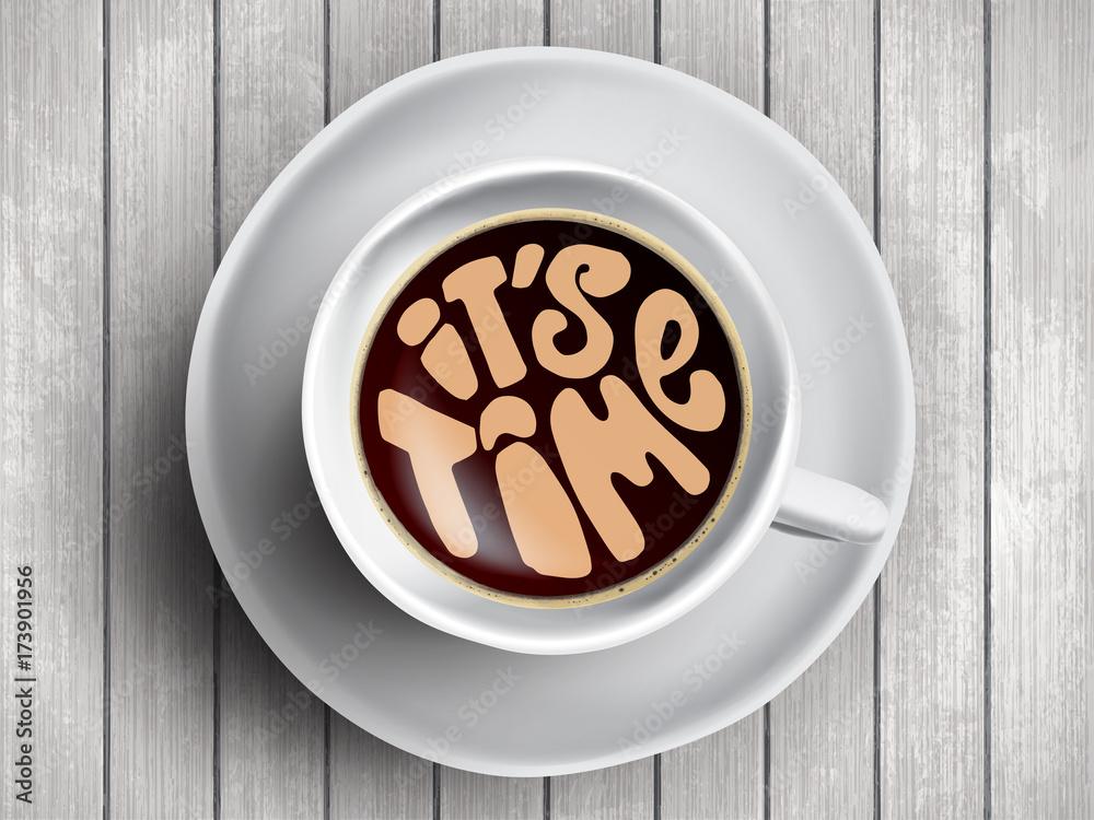 Fotografía Taza de café con letras de tiempo, citas de motivación ...