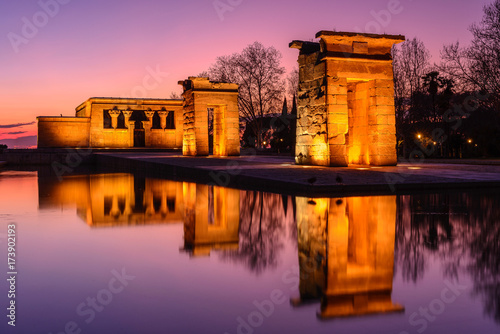 Recess Fitting Madrid Temple of Debod at night, Madrid, Spain