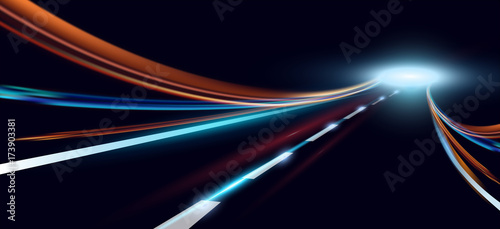 Obraz Vector illustration of dynamic lights. High speed road in night time abstraction. City road car light trails motion background. - fototapety do salonu