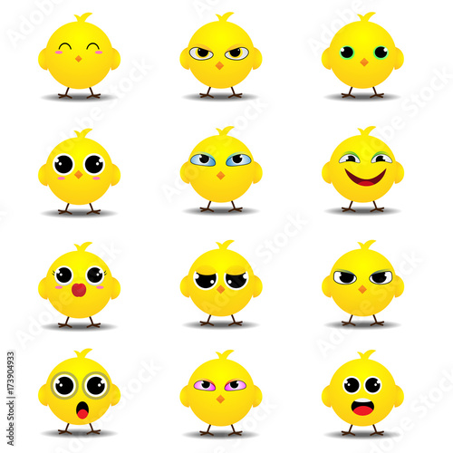 Flat emoji collection of funny chick Tablou Canvas