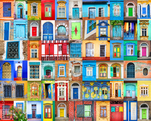 Poster de jardin Havana Doors and windows of the world. Colorful collage, travel concept.