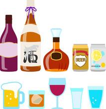 瓶や缶入りの酒とグラ...