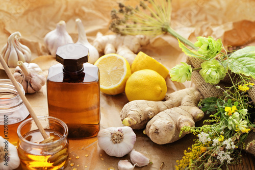 Photo herbal syrup and honey. alternative medicine