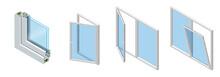 Isometric Cross Section Through A Window Pane PVC Profile Laminated Wood Grain, Classic White. Set Of Cross-section Diagram Of Glazed Windows.