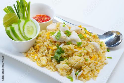 Plakat Krab Smażący Rice - Smażący ryżowy tajlandzki stylowy Azja