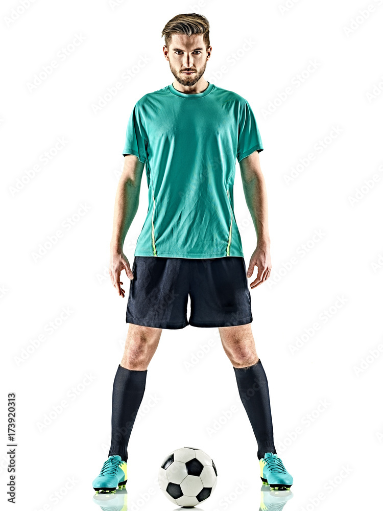 Fototapeta one caucasian soccer player man standing with football isolated on white background