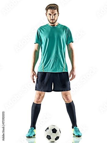 Fototapeta one caucasian soccer player man standing with football isolated on white background obraz
