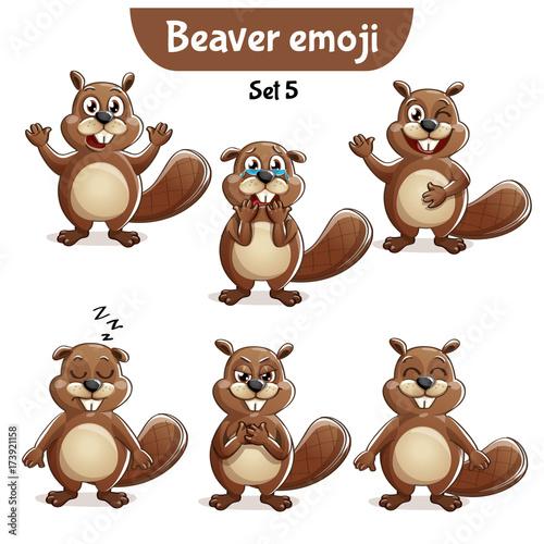 Vector set of cute beaver characters. Set 5 Wallpaper Mural