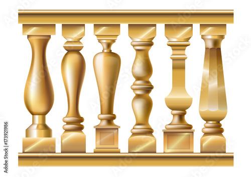 Papel de parede Set of classic gold balusters