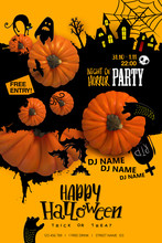Halloween Paper Art Party Poster. Cartoon Silhouettes On Blot Background With Realistic Pumpkins. Vector Illustration. Paper Cut Holiday Design With Hand Lettering Greetings. Retro Style