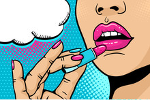 Pop Art Makeup. Closeup Of Sexy Girl Paints Her Lips With Lipstick In Her Hand And Empty Speech Bubble. Vector Coloful Background In Comic Retro Pop Art Style. Cosmetics Appliying On Female Face.