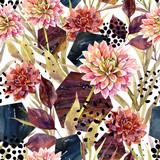 Autumn watercolor floral arrangement, seamless pattern. - 173928949