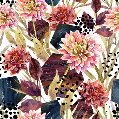 Stickers pour porte Empreintes Graphiques Autumn watercolor floral arrangement, seamless pattern.