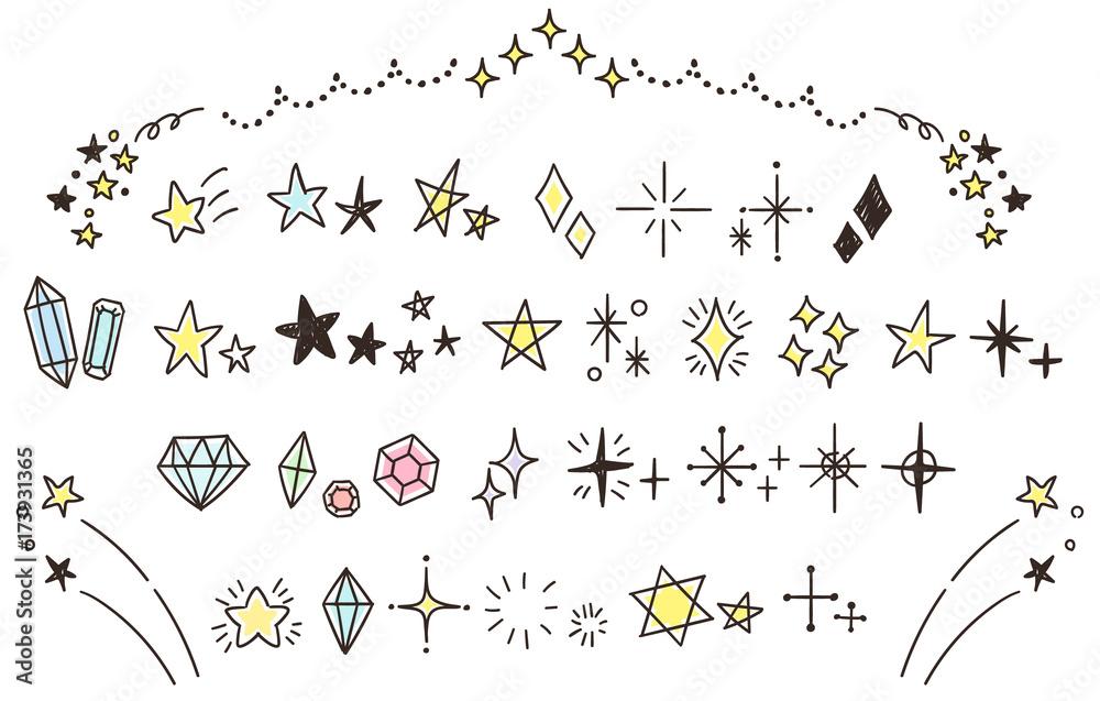 Fototapeta キラキラ・星のかわいい手描きアイコンのセット(カラー)