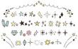 キラキラ・星のかわいい手描きアイコンのセット(カラー)