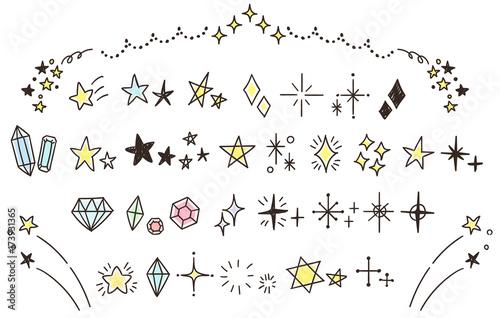 Fototapeta キラキラ・星のかわいい手描きアイコンのセット(カラー) obraz