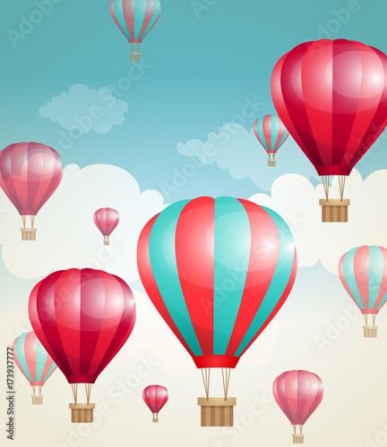 Zdjęcie XXL Czerwone powietrze balony i chmury.
