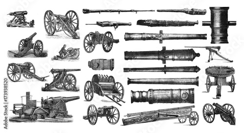 Foto Illustration of a cannon on a white background.