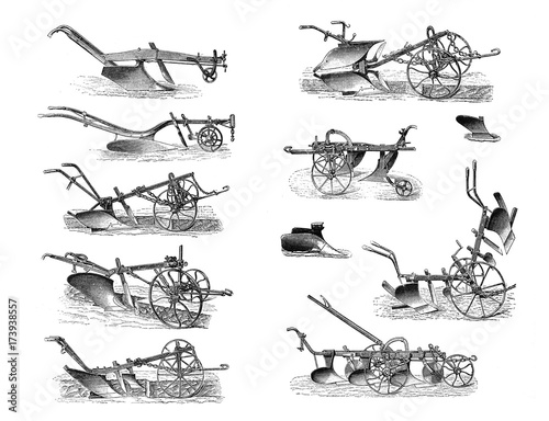 Photo  Illustrations of agricultural machinery on a white background.