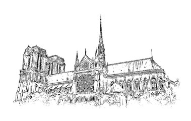 Vector Sketch of Notre-Dame de Paris France in illustration.