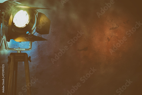 Illuminated, smoky stage light with copy space Fototapet