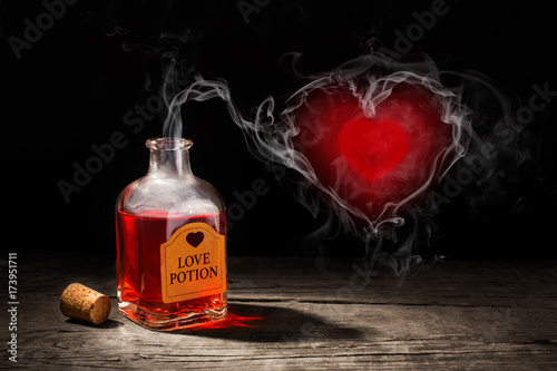 Love potion is red in a bottle Canvas Print