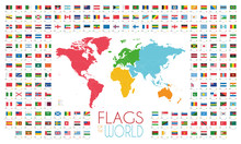 204 World Flags With World Map...