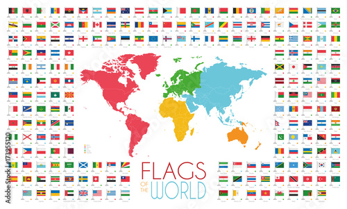 Valokuva  204 world flags with world map by continents vector illustration