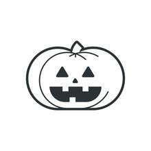 Halloween Pumpkin Icon. Black And White Illustration.