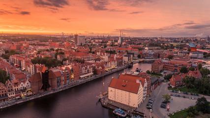 Panel Szklany Gdańsk Zachód słońca przy Motławie