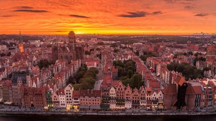 Panel Szklany Gdańsk Zachód słońca nad Gdańskiem